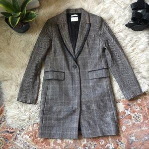 Club Monaco Italian Wool Plaid Coat